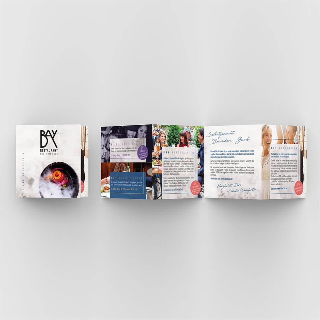 SKRUFF Designagentur Werbeagentur Rosenheim Projekte Print Design Restaurant Bay Flyer Gestaltung