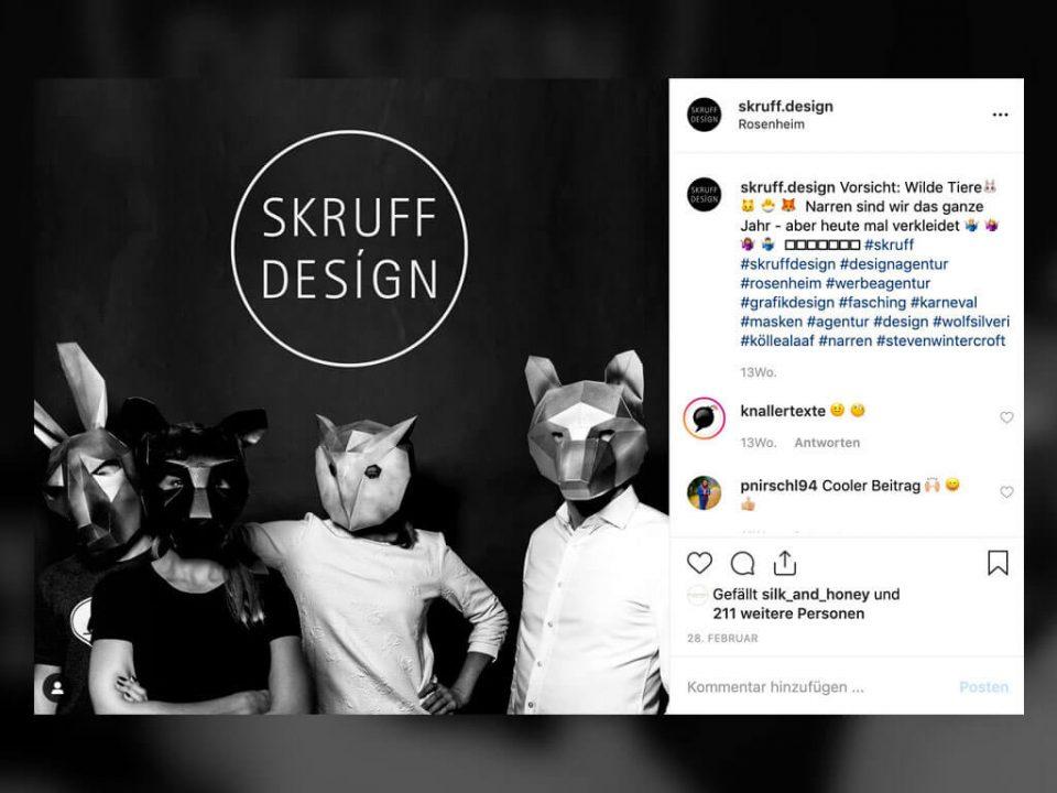 SKRUFF Designagentur Werbeagentur Rosenheim Projekte Social Media Instagram Skruffteam Skruff Designteam
