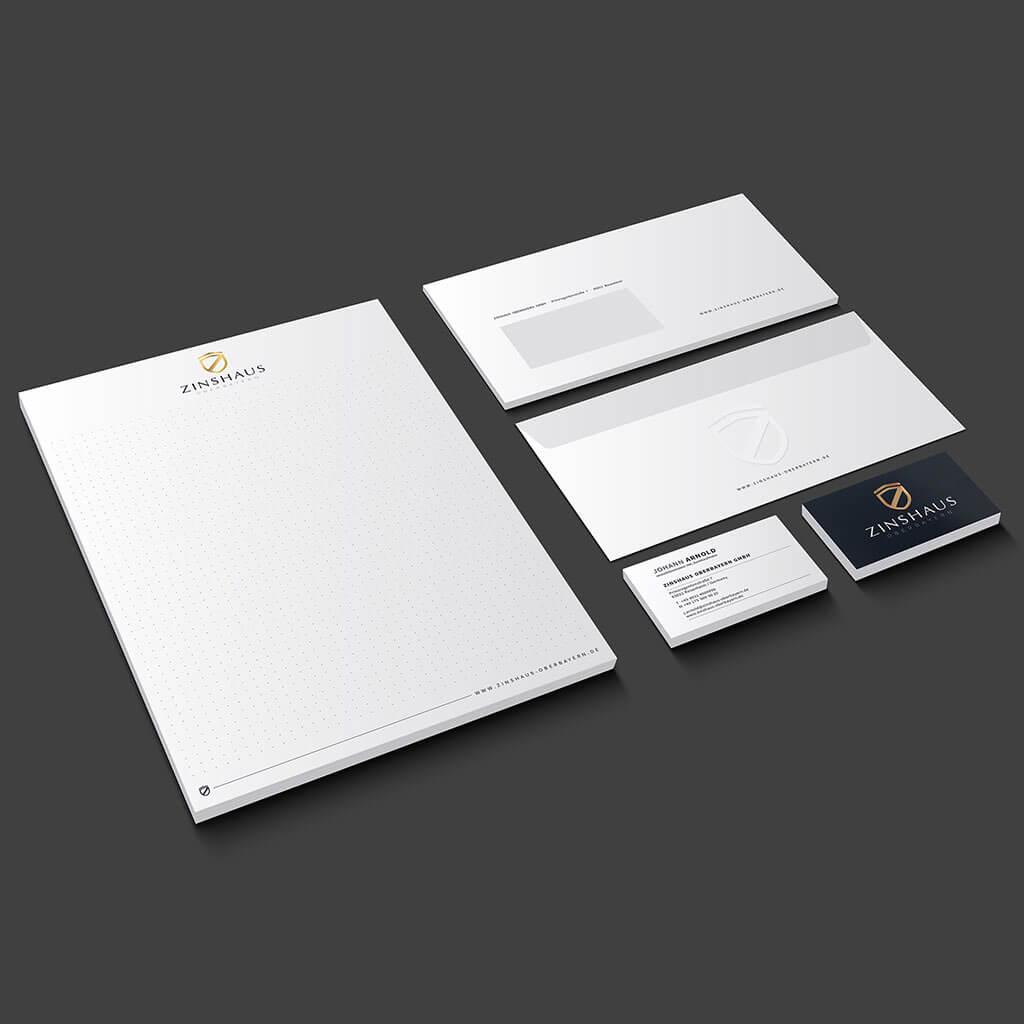 SKRUFF Designagentur Werbeagentur Rosenheim Projekte Corporate Design Zinshaus Visitenkarten Blöcke