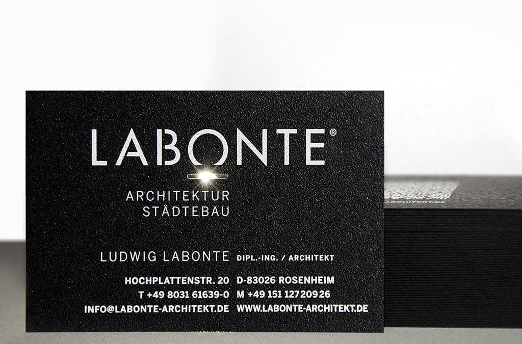 SKRUFF Designagentur Werbeagentur Rosenheim Projekte Print Design Visitenkarten Labonte Architektur