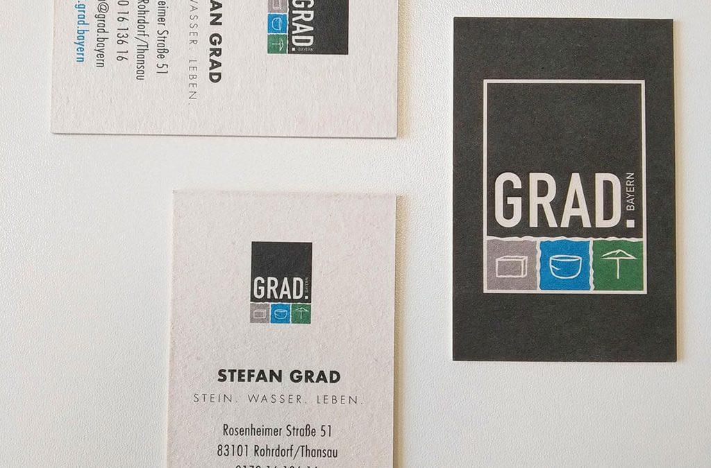 SKRUFF Designagentur Werbeagentur Rosenheim Projekte Print Design Visitenkarten Natursteinhandel Grad
