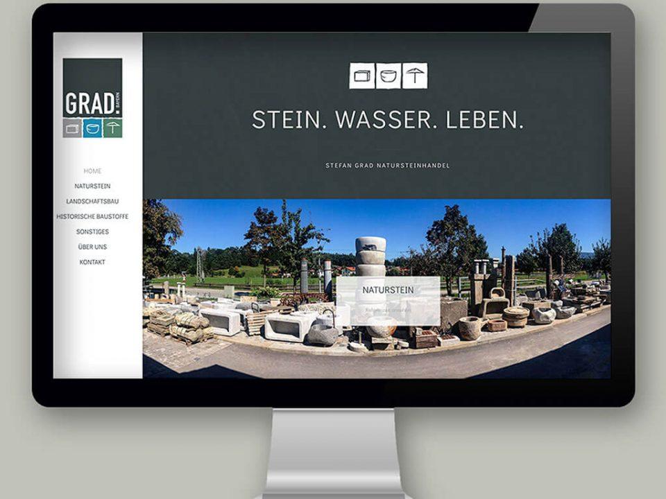 SKRUFF Designagentur Werbeagentur Rosenheim Projekte Webdesign Natursteinhandel Grad Website