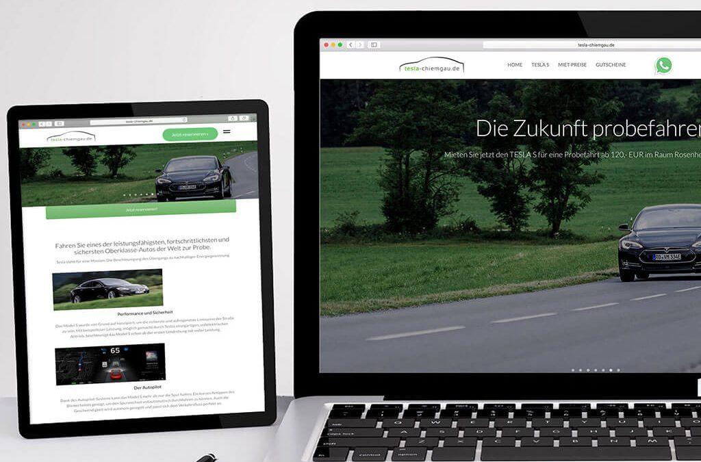SKRUFF Designagentur Werbeagentur Rosenheim Projekte Webdesign Tesla Chiemgau