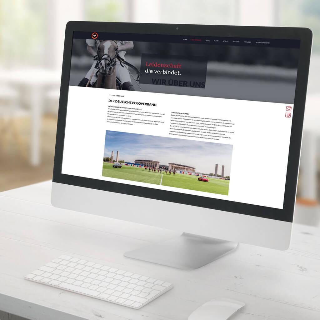 SKRUFF Designagentur Werbeagentur Rosenheim Projekte Webdesign Poloverband Deutschland Websiteansicht auf dem Desktop